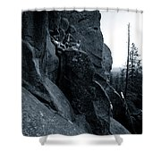 Cliff Dancers Three Black And White Shower Curtain