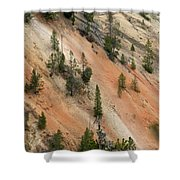 Cliff Side Grand Canyon Colors Vertical Shower Curtain
