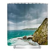 Cliffs Under Thunder Clouds And Turquoise Ocean Shower Curtain
