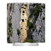 Climber Near Prehistoric Cliff Dwelling Shower Curtain