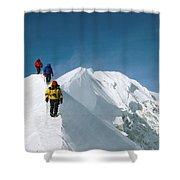 Climbers Hike Along A Ridge Shower Curtain