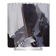 Climbers Move Carefully Across Steep Shower Curtain