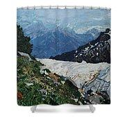 Climbing Mount Rainier Shower Curtain