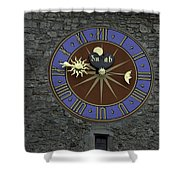 Clocktower In Lucerne On A Stone Tower Shower Curtain