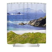 Clogher Beach, Blasket Islands, Dingle Shower Curtain