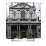 Close Up Of A Classical Architecture Of A Building In London Shower Curtain