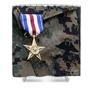 Close-up Of A Medal On The Uniform Shower Curtain