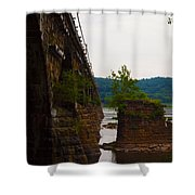 Close Up Of The Bridge Over The River Shower Curtain