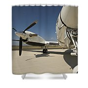 Close Up Of Turbo-prop Aircraft Shower Curtain