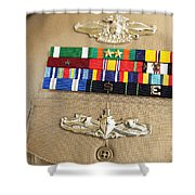 Close-up View Of Military Decorations Shower Curtain