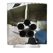 Close-up View Of The Rocket Pod On An Shower Curtain
