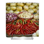 Close View Of Chili Peppers And Other Shower Curtain