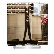 Clothes Pin Statue In Philadelphia Shower Curtain