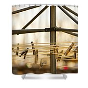 Clothespins On The Line Shower Curtain
