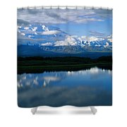 Cloud-enshrouded Mt. Mckinley Reflected Shower Curtain