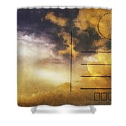 Cloud In Sunset On Postcard Shower Curtain by Setsiri Silapasuwanchai
