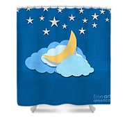 Cloud Moon And Stars Design Shower Curtain
