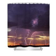 Cloud To Ground Lightning At Sunset Shower Curtain