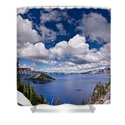 Clouds Above Crater Lake Shower Curtain
