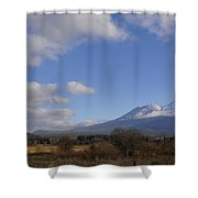 Clouds And Mt Shasta In Autumn Shower Curtain