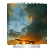 Clouds Over A Tomb, Poulnabrone Dolmen Shower Curtain