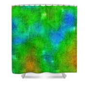 Cloudy Green And Blue Shower Curtain