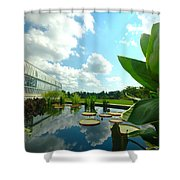 Cloudy Reflections And Lily Pad Companions  Shower Curtain