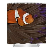 Clownfish In Purple Tip Anemone Shower Curtain