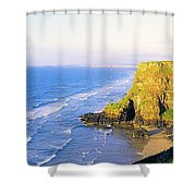 Co Derry, Ireland View Of Cliffs And Shower Curtain