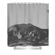 Co Rocky Mountain Front Range Hot Air Balloon View Bw Shower Curtain