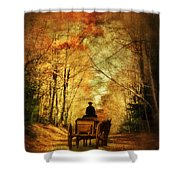 Coach On A Road In Autumn Shower Curtain