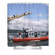 Coast Guard With Tall Ships Shower Curtain