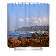 Coast Line California Shower Curtain by Susanne Van Hulst
