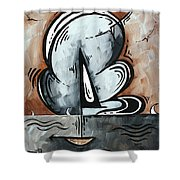 Coastal Art Contemporary Sailboat Painting Whimsical Design Afternoon Breeze By Madart Shower Curtain