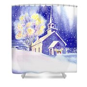 Coastal Church Christmas Shower Curtain