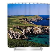 Coastal Cliffs And Seascape With Boat Shower Curtain