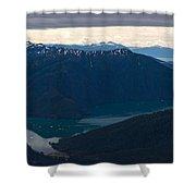 Coastal Range Fjords Shower Curtain by Mike Reid