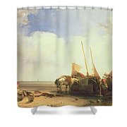 Coastal Scene In Picardy Shower Curtain by Richard Parkes Bonington