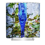 Cobalt Blue Bottle Triptych 1 Of 3 Shower Curtain by Andee Design