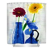 Cobalt Blue Glass Bottles And Gerbera Daisies Shower Curtain