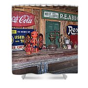 Coca Cola - Rexall - Ok Used Tires Signs And Other Antiques Shower Curtain