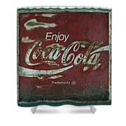 Coca Cola Green Red Grunge Sign Shower Curtain
