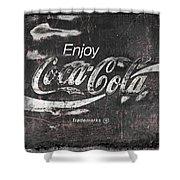 Coca Cola Pink Grunge Sign Shower Curtain