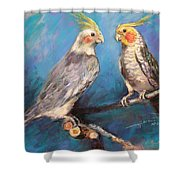 Coctaiel Parrots Shower Curtain