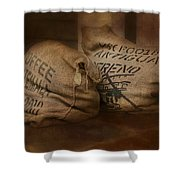 Coffee Beans In Burlap Bags Shower Curtain by Susan Candelario