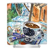Coffee Break In Elos In Crete Shower Curtain