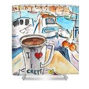 Coffee Break In Heraklion In Crete Shower Curtain