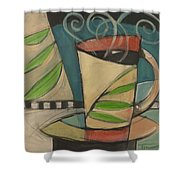 Coffee Cup With Leaves Shower Curtain