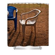 Coffee Cups Along With Chairs And Tables In A Quiet Location At Sunset Shower Curtain