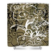 Coffee Flowers 1 Olive Shower Curtain